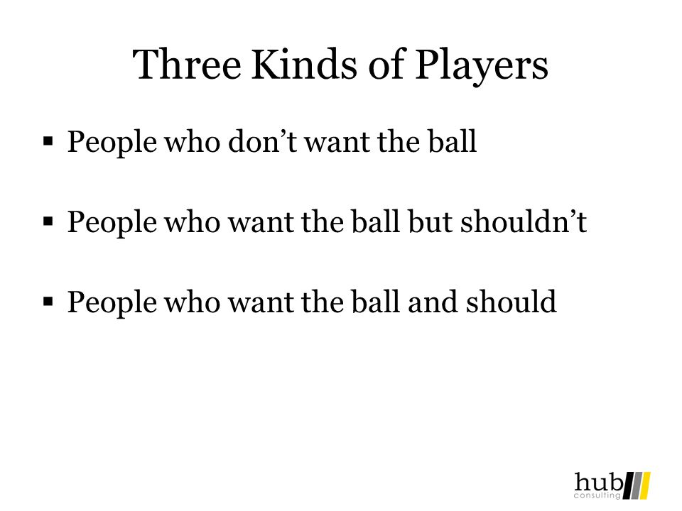 Three Kinds of Players People who don't want the ball