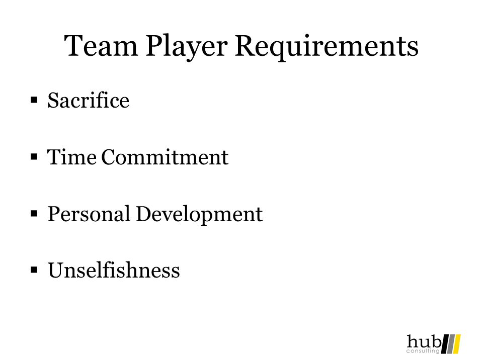 Team Player Requirements