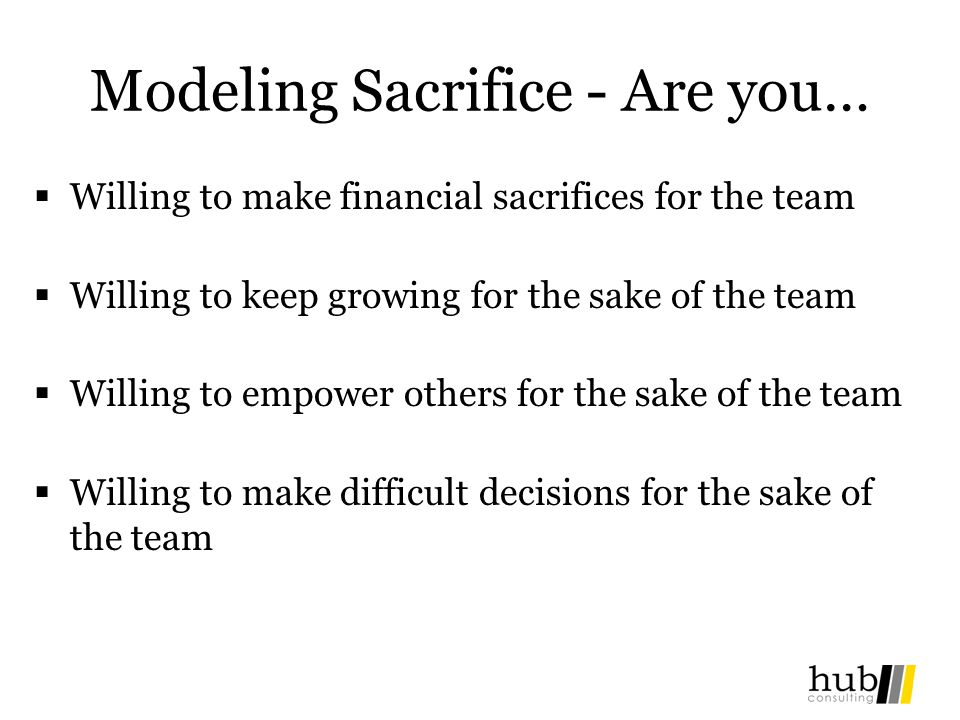 Modeling Sacrifice - Are you…