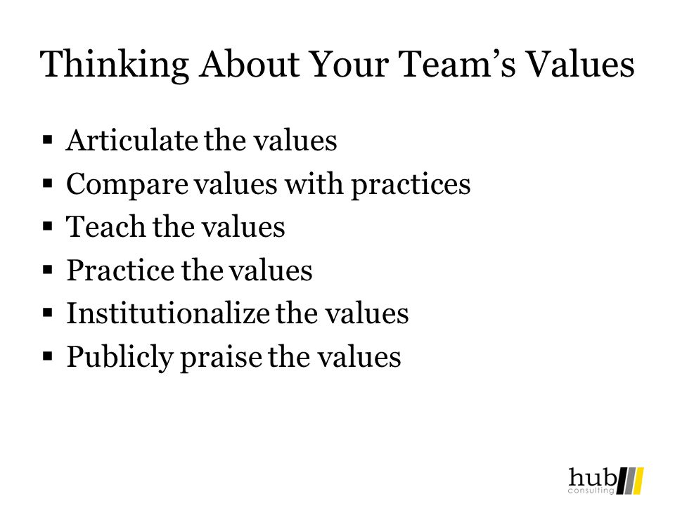 Thinking About Your Team's Values