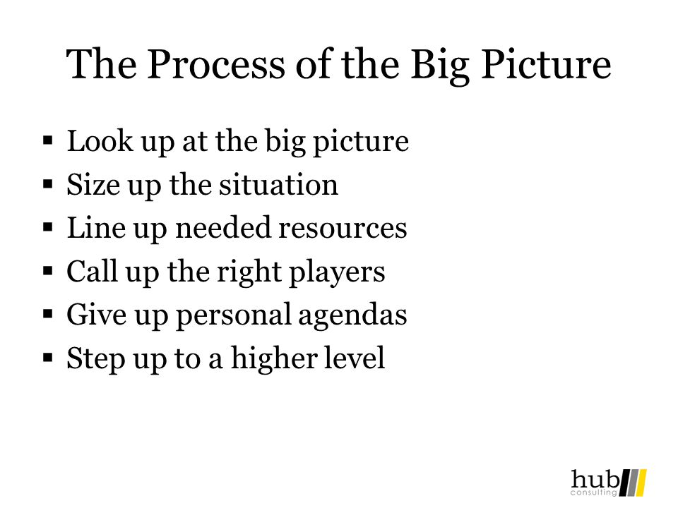 The Process of the Big Picture