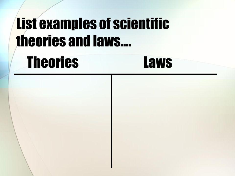 List examples of scientific theories and laws….