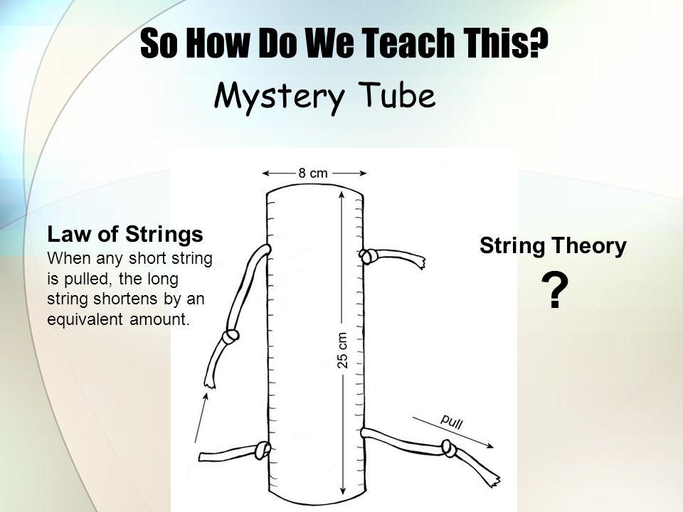 So How Do We Teach This Mystery Tube Law of Strings String Theory