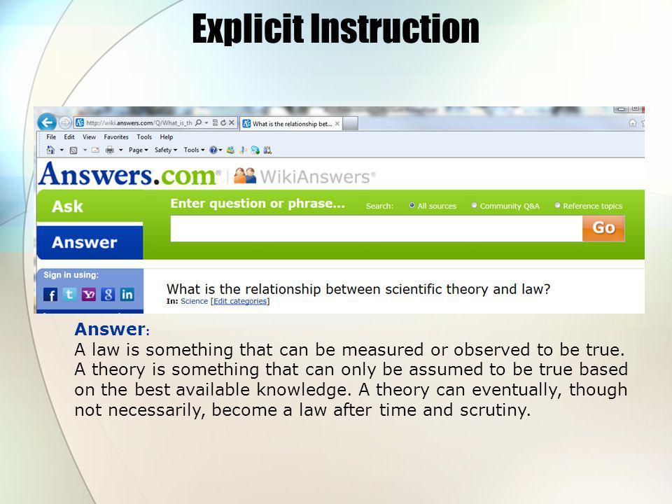 Explicit Instruction Answer: