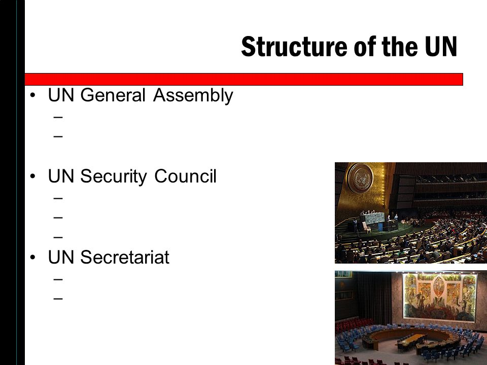 Structure of the UN UN General Assembly UN Security Council