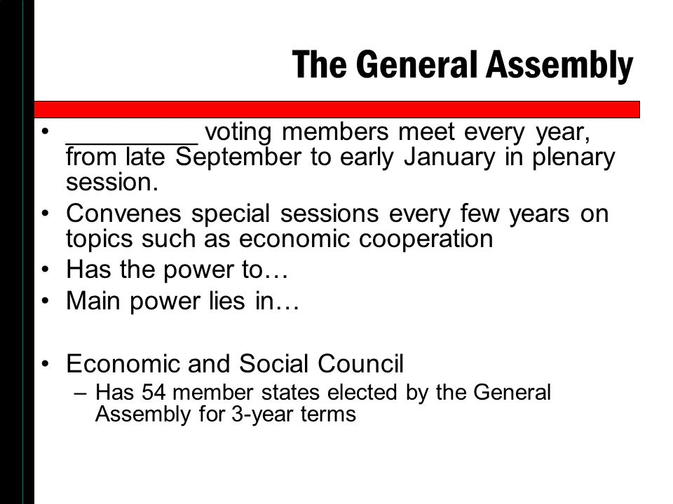 The General Assembly _________ voting members meet every year, from late September to early January in plenary session.
