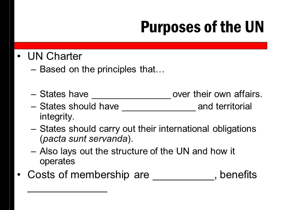 Purposes of the UN UN Charter