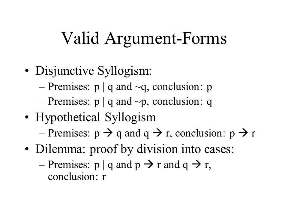 Valid Argument-Forms Disjunctive Syllogism: Hypothetical Syllogism