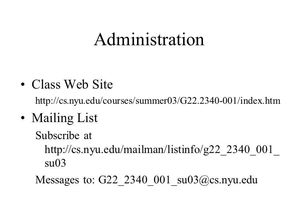Administration Class Web Site Mailing List