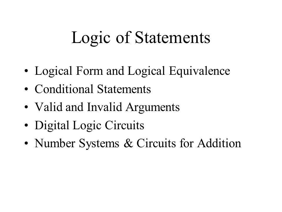 Logic of Statements Logical Form and Logical Equivalence
