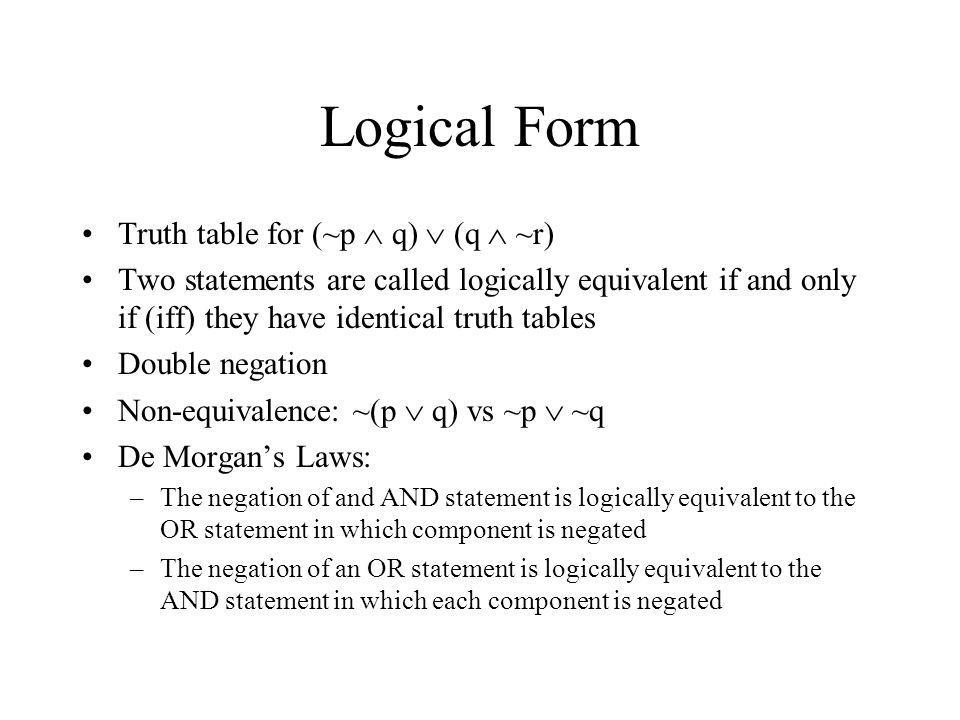 Logical Form Truth table for (~p  q)  (q  ~r)