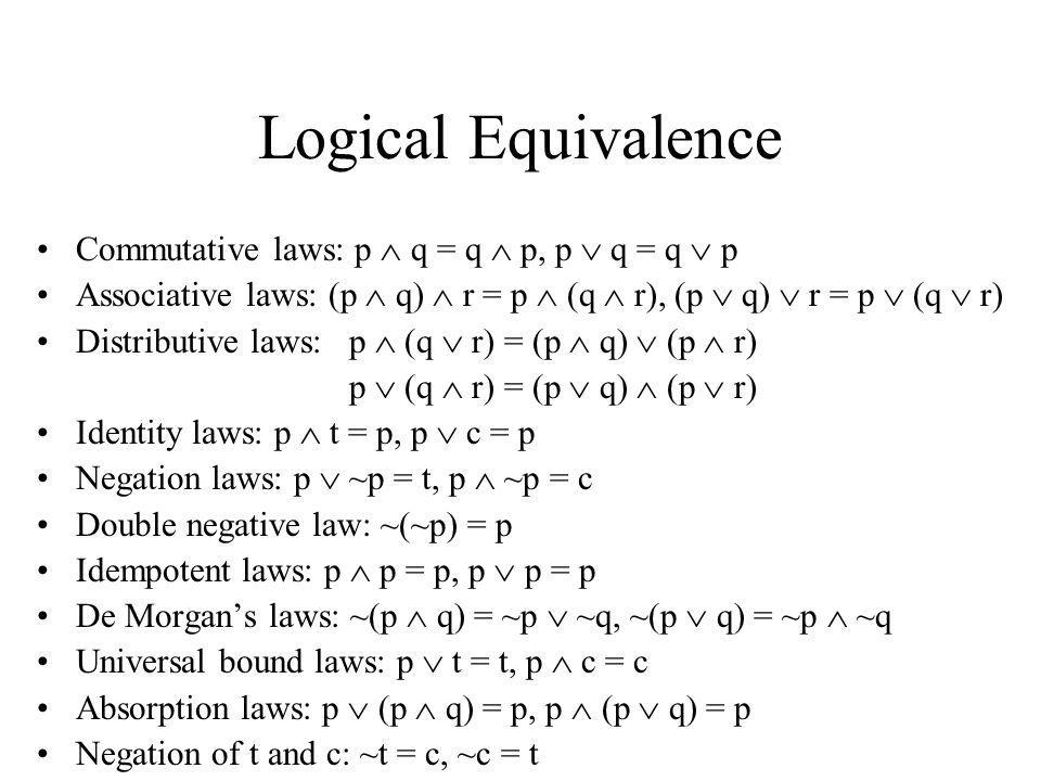 Logical Equivalence Commutative laws: p  q = q  p, p  q = q  p