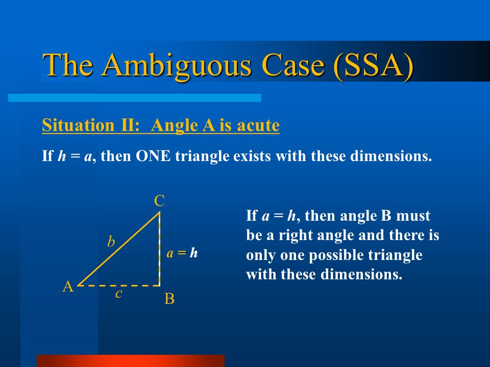 The Ambiguous Case (SSA)