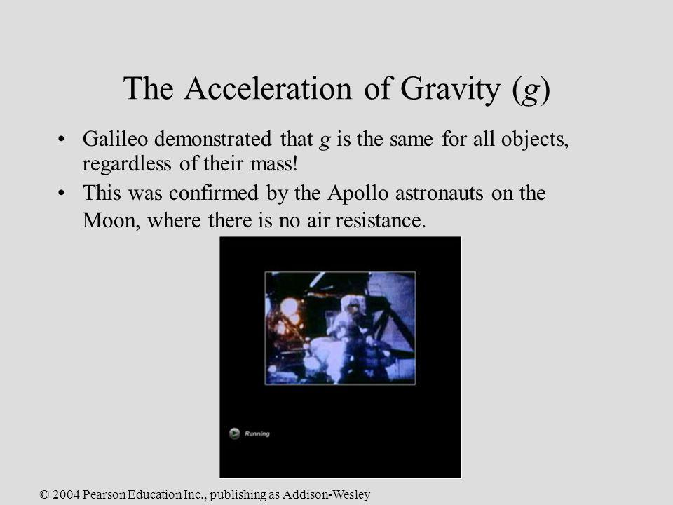 The Acceleration of Gravity (g)