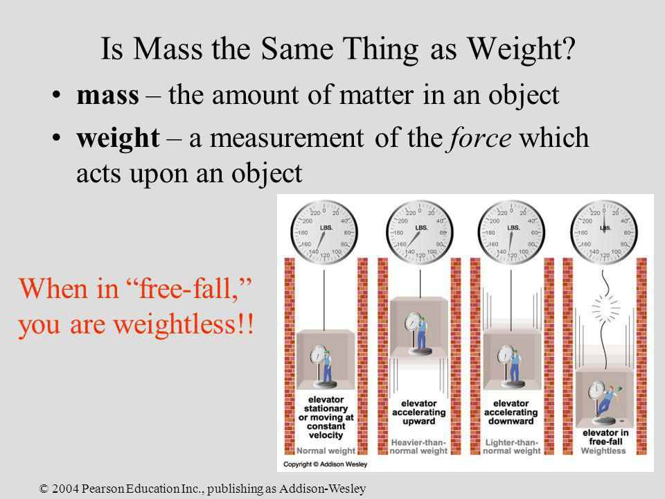 Is Mass the Same Thing as Weight