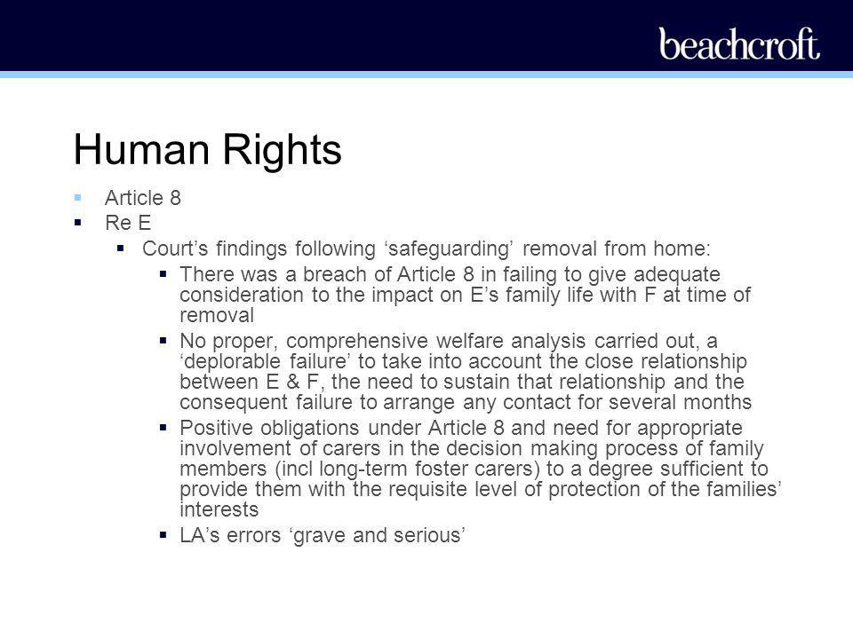Human Rights Article 8 Re E