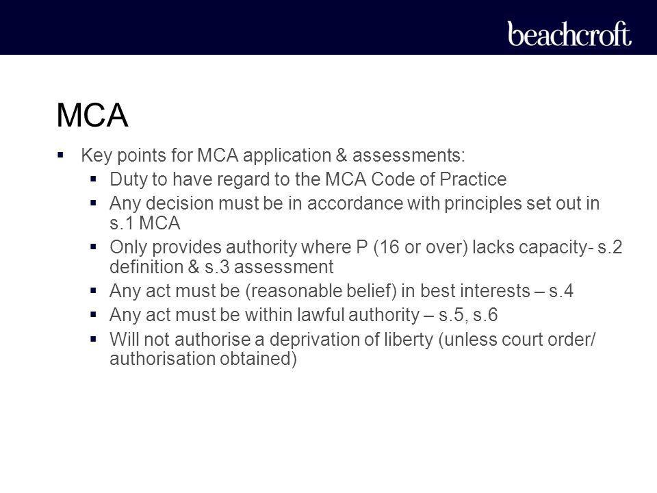 MCA Key points for MCA application & assessments: