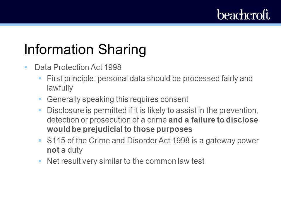 Information Sharing Data Protection Act 1998