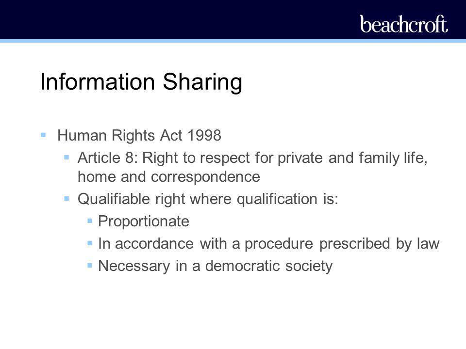 Information Sharing Human Rights Act 1998
