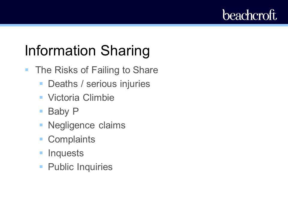 Information Sharing The Risks of Failing to Share