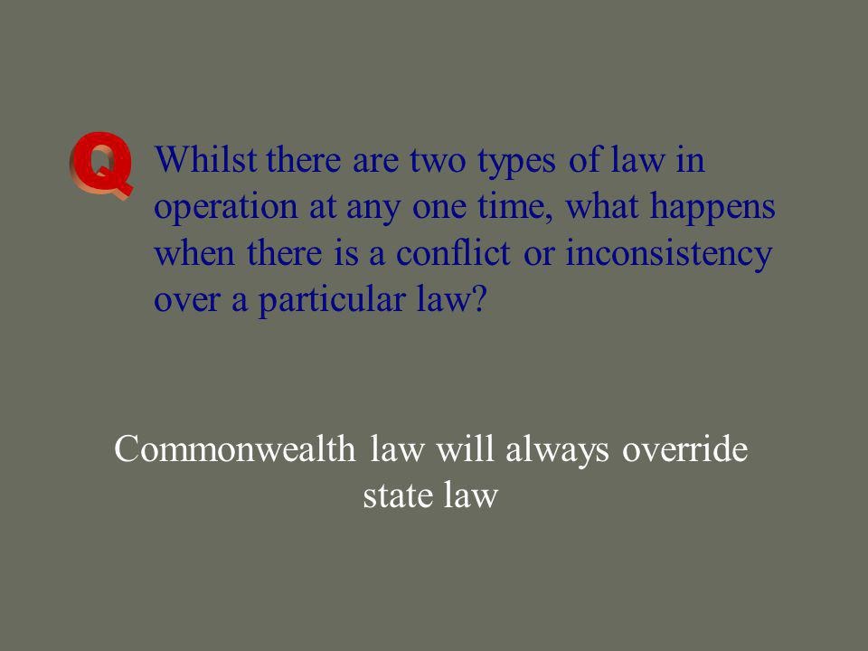 Commonwealth law will always override state law