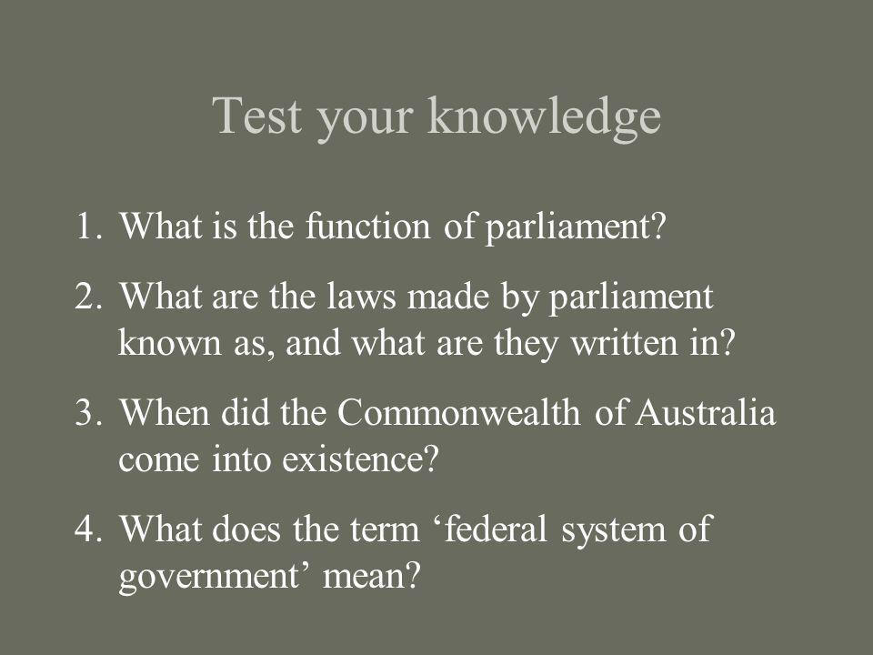 Test your knowledge What is the function of parliament