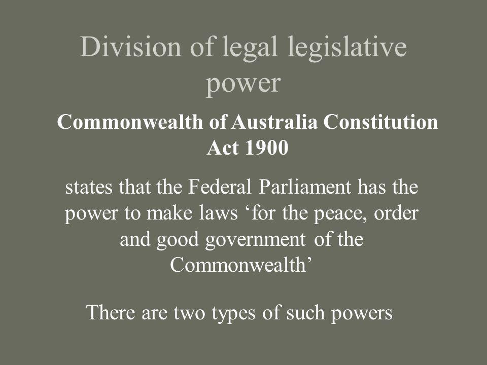 Division of legal legislative power