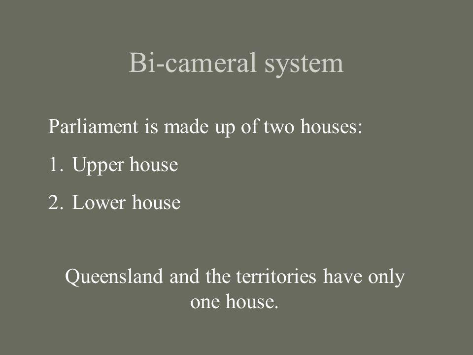 Queensland and the territories have only one house.