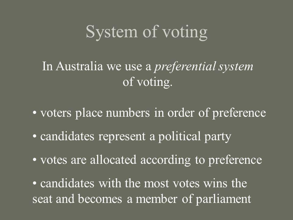 In Australia we use a preferential system of voting.