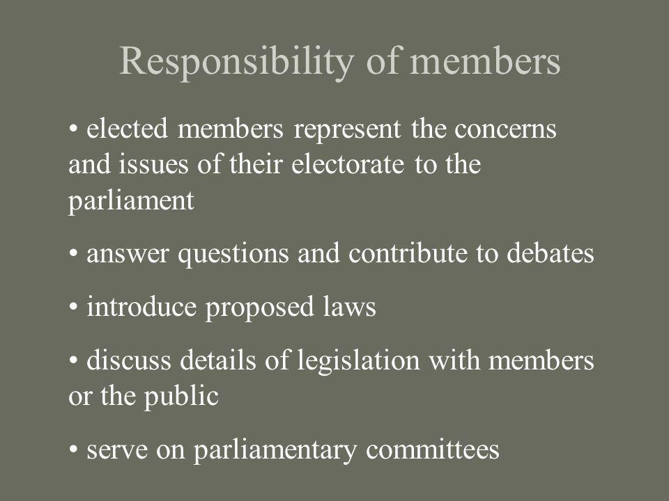 Responsibility of members