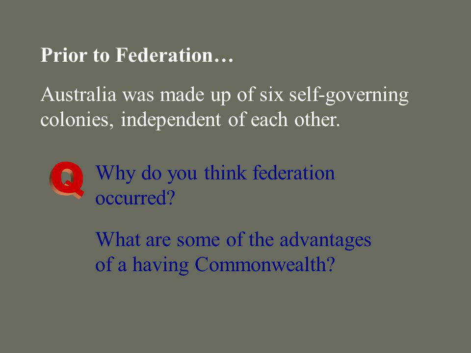 Prior to Federation… Australia was made up of six self-governing colonies, independent of each other.