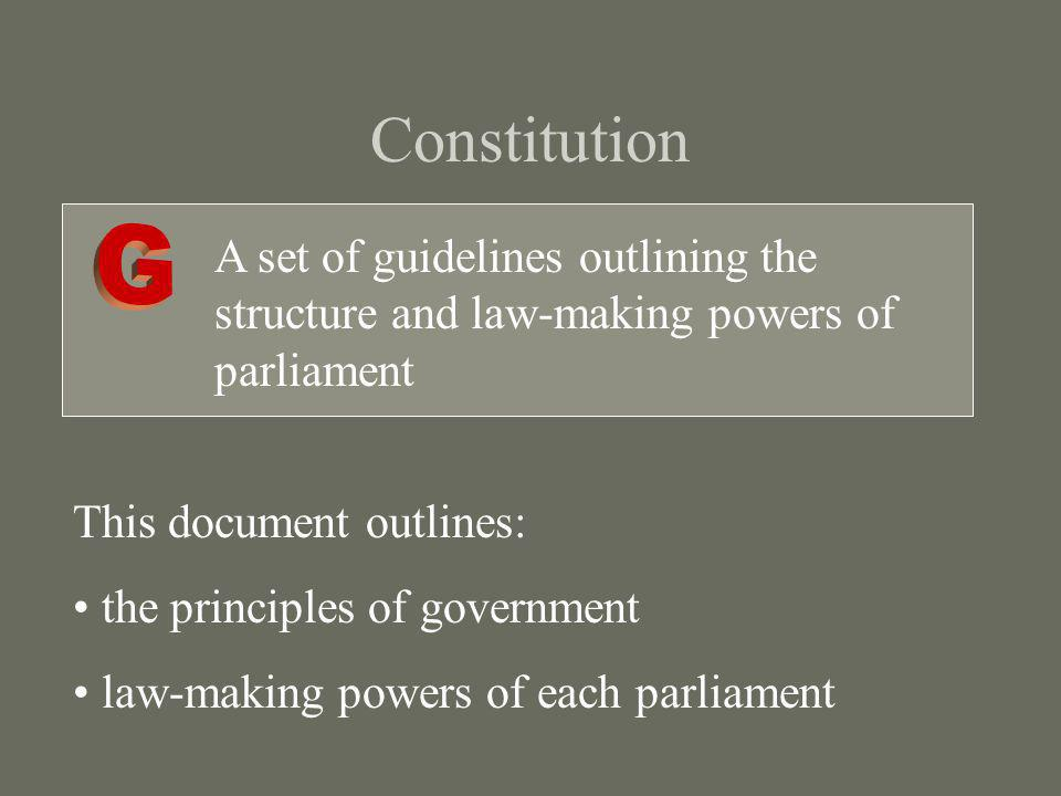 Constitution G. A set of guidelines outlining the structure and law-making powers of parliament. This document outlines: