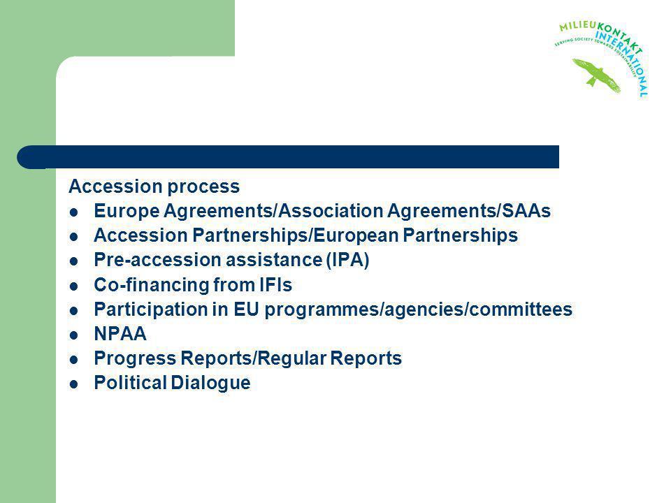 Accession process Europe Agreements/Association Agreements/SAAs. Accession Partnerships/European Partnerships.