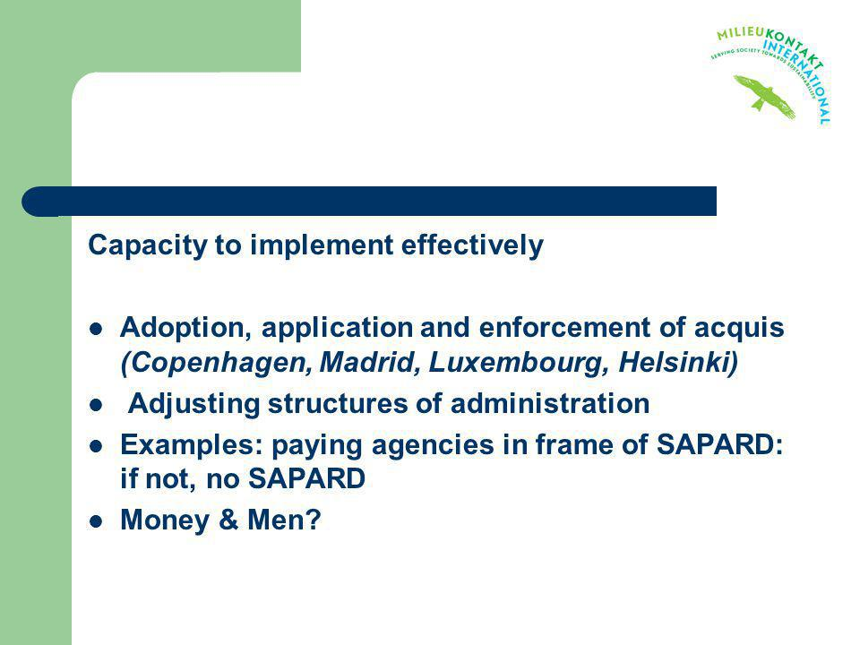 Capacity to implement effectively