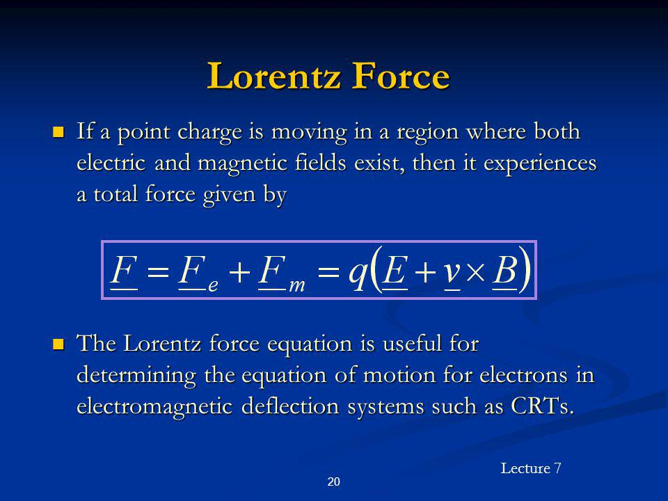 Lorentz Force If a point charge is moving in a region where both electric and magnetic fields exist, then it experiences a total force given by.