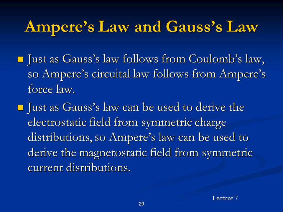 Ampere's Law and Gauss's Law