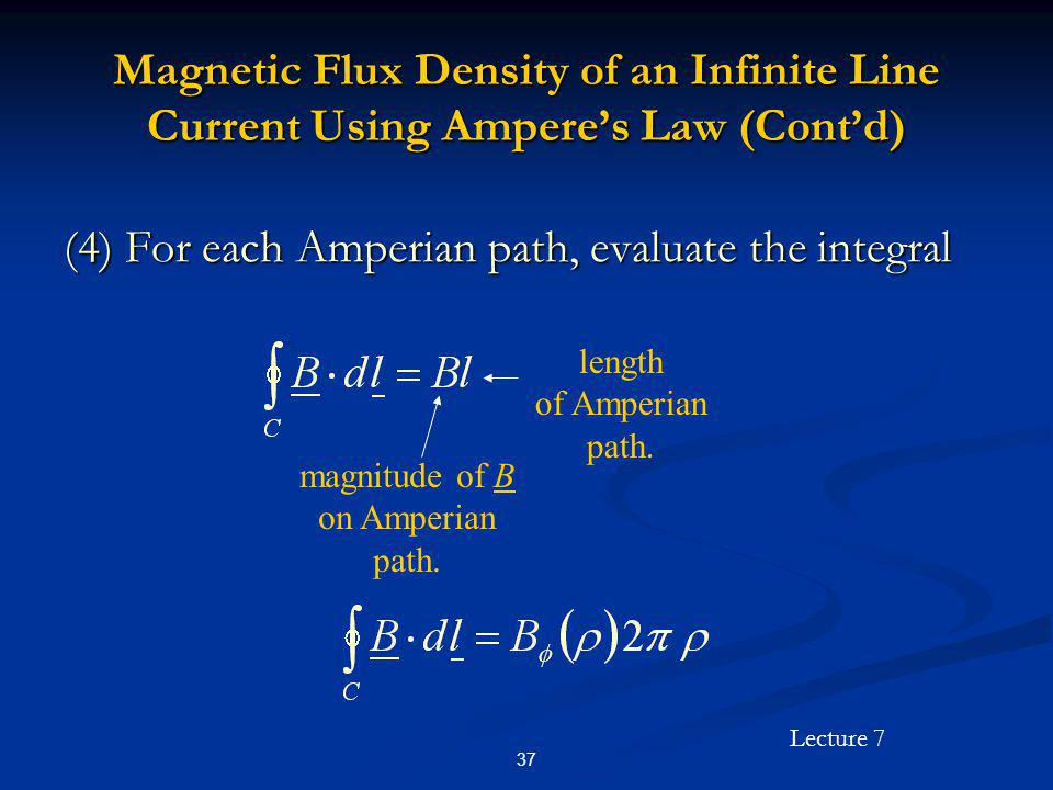 (4) For each Amperian path, evaluate the integral