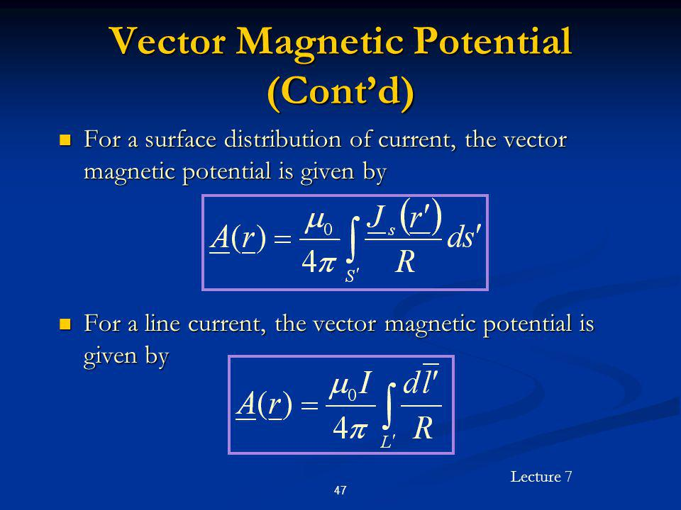 Vector Magnetic Potential (Cont'd)