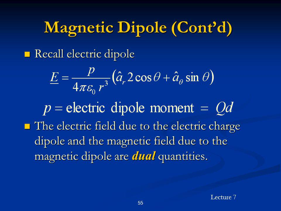 Magnetic Dipole (Cont'd)