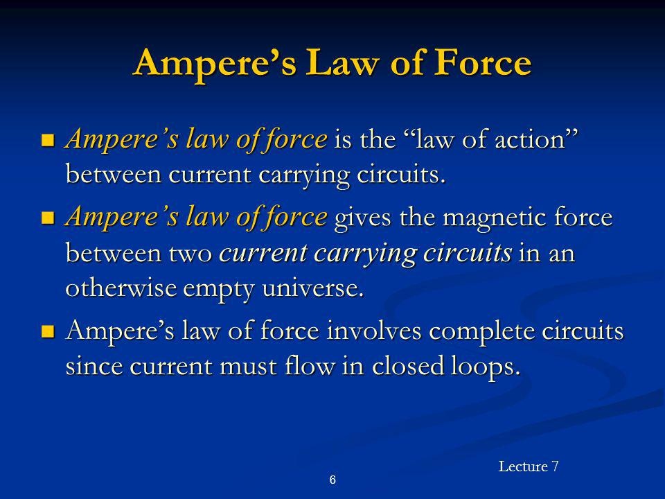 Ampere's Law of Force Ampere's law of force is the law of action between current carrying circuits.