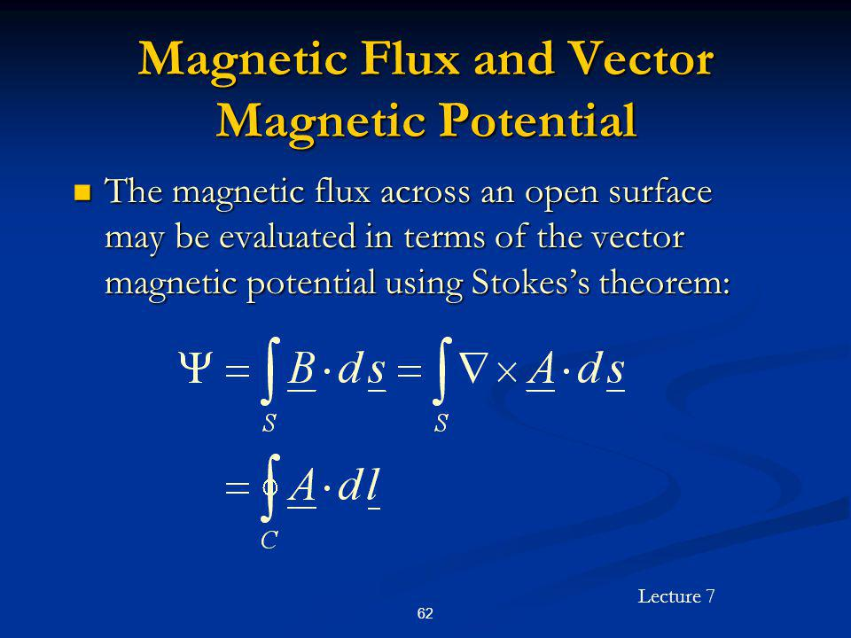 Magnetic Flux and Vector Magnetic Potential