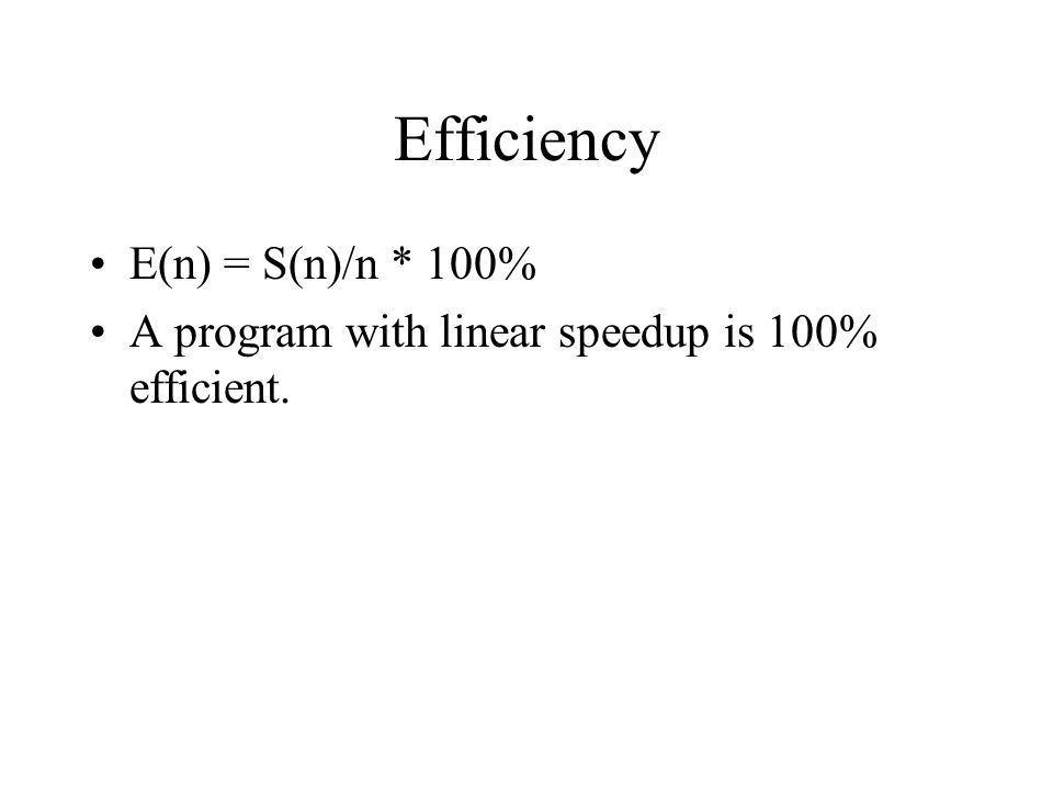 Efficiency E(n) = S(n)/n * 100%