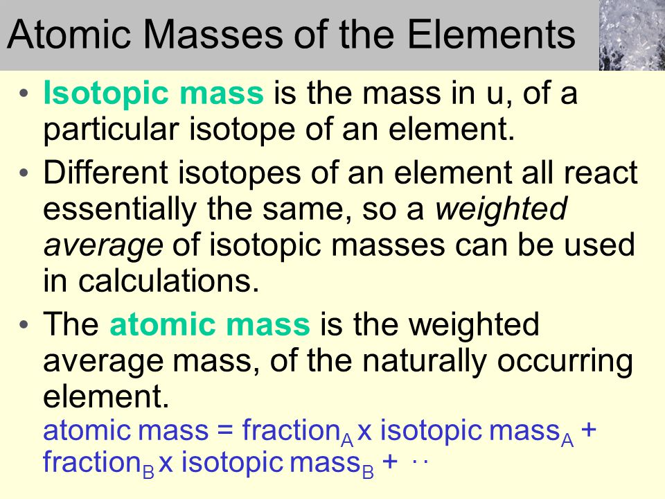 Atomic Masses of the Elements