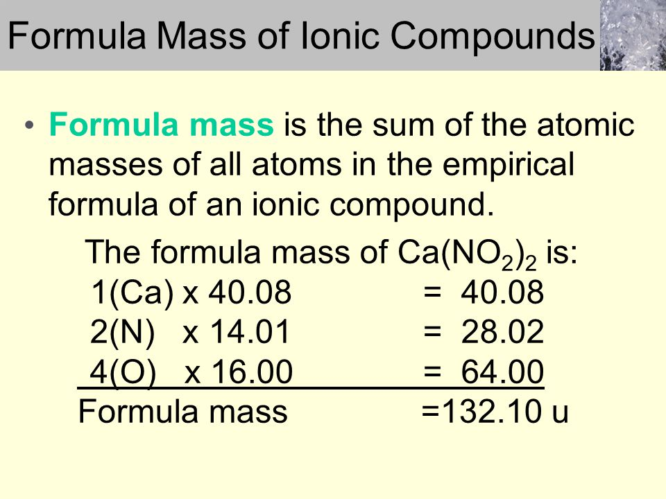 Formula Mass of Ionic Compounds