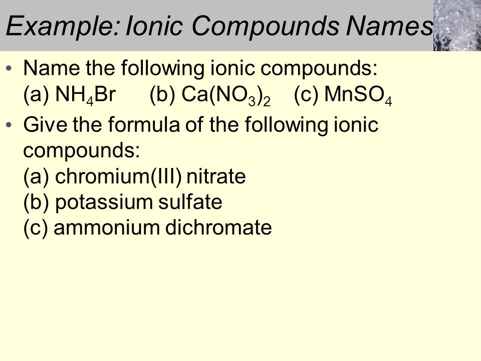 Example: Ionic Compounds Names