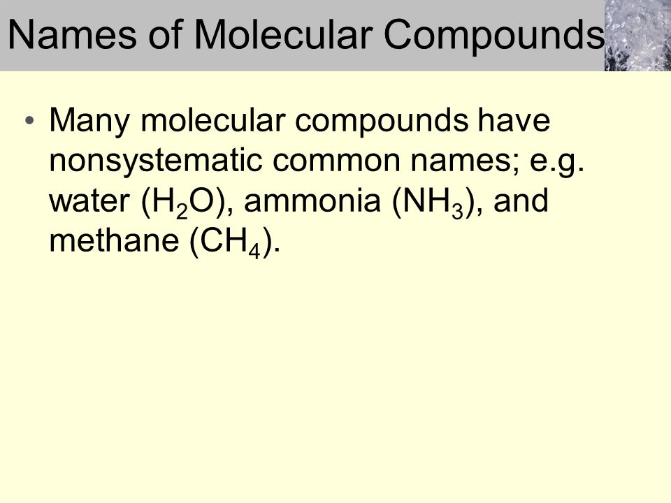 Names of Molecular Compounds