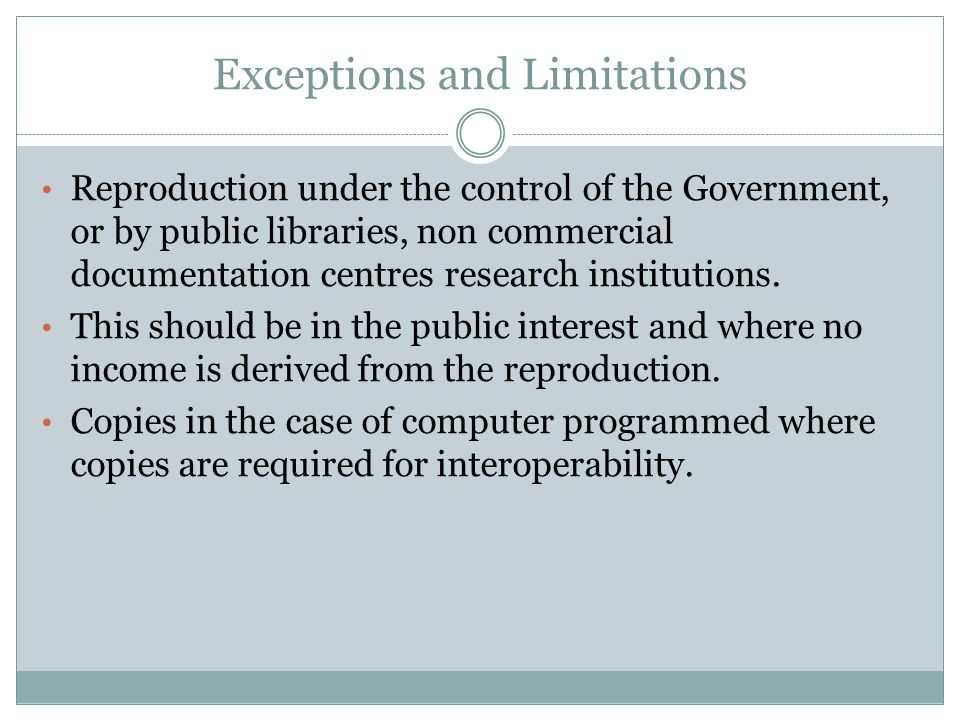 Exceptions and Limitations