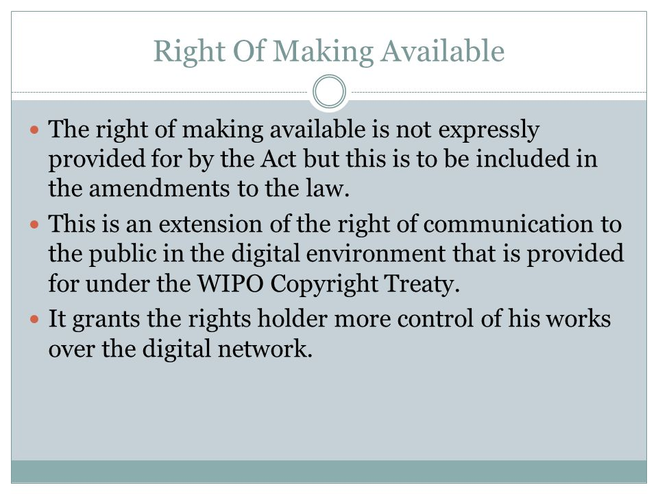 Right Of Making Available
