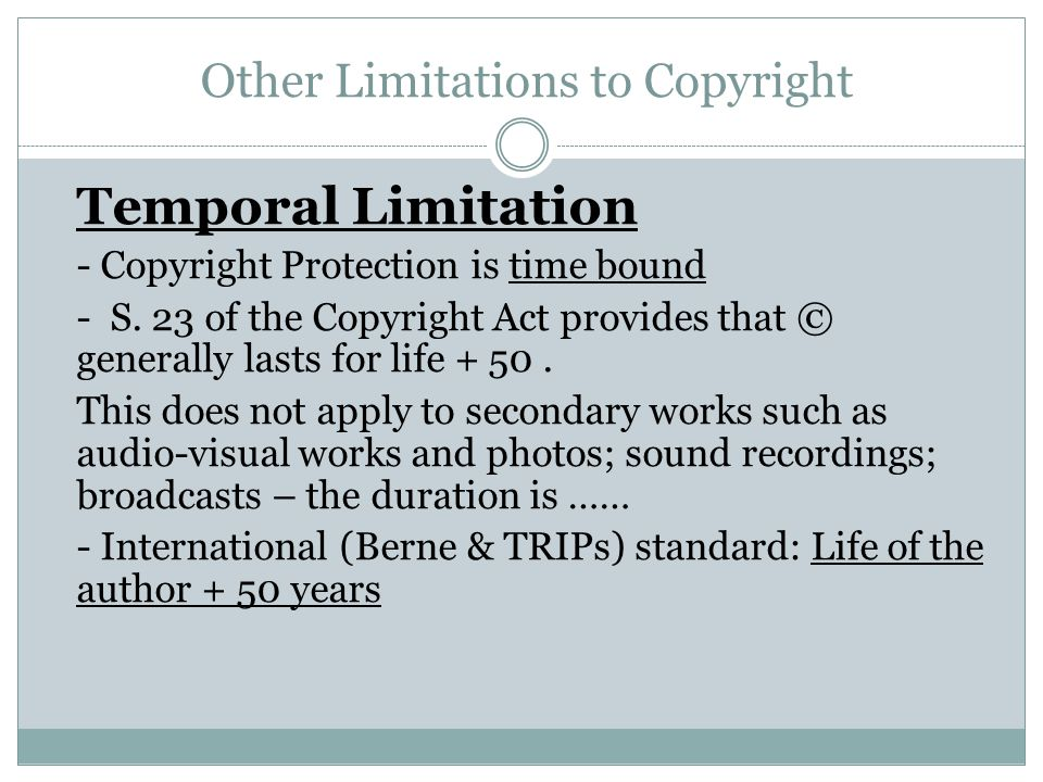Other Limitations to Copyright
