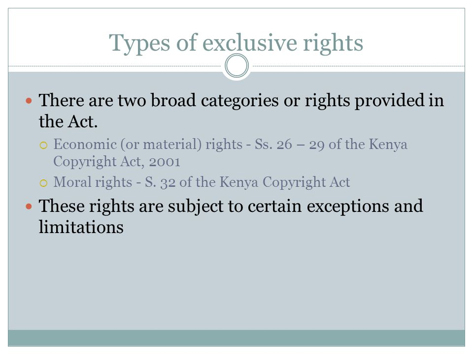 Types of exclusive rights
